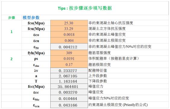 钱稼茹混凝土模型-实例Excel计算过程