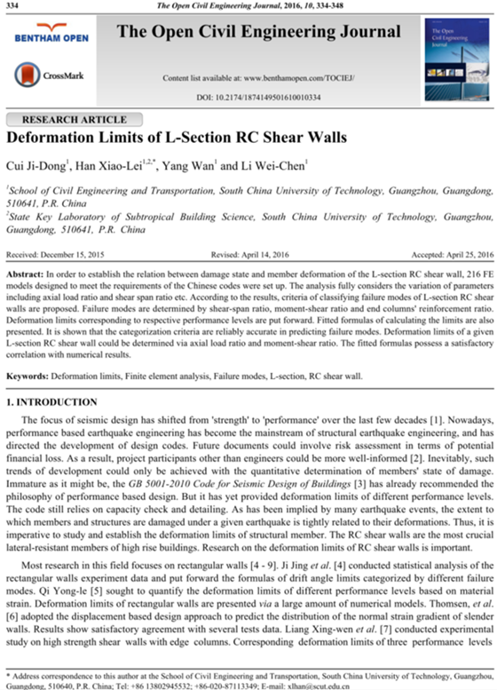 Deformation limits of L-section RC shear walls